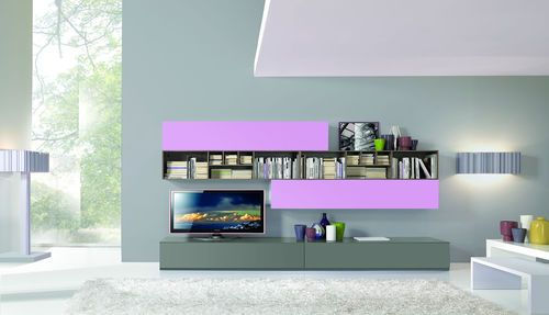 Contemporary lacquered TV wall unit By GIESSEGI. Love the Lavender