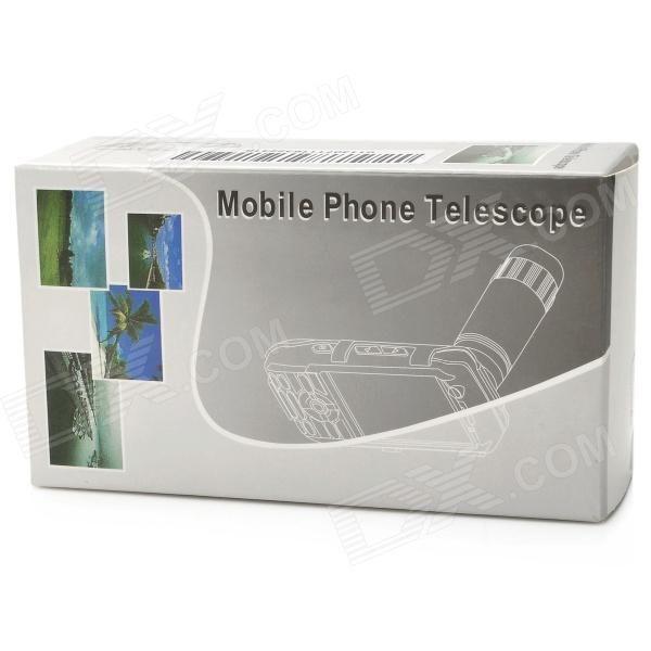 Detachable 16 Degree View Angle 8X Telescope for Mobile Phones - White + Black