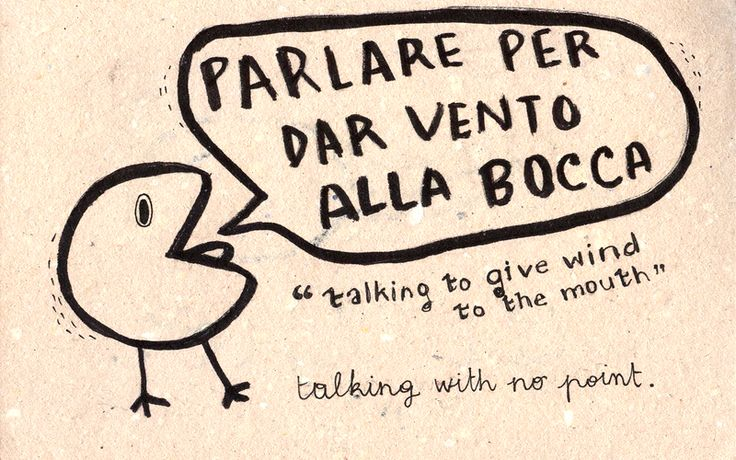 "Learning Italian Language ~ ""Parlare per dar vento alla bocca"" 