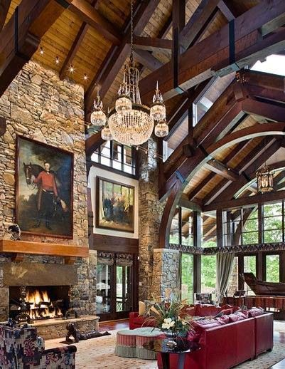 Rustic Elegance Design, Pictures, Remodel, Decor and Ideas - page 55: Interior, Living Rooms, Chandelier, Favorite Places, Dream House, Architecture, Fireplace, Rustic Elegance