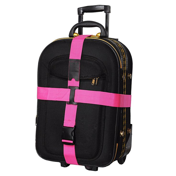 Premium Quality, Bright Colored, Cross Luggage Straps - Extra Long With ID Slot. (2 Pink- 2 Pack)