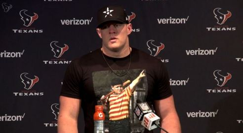 JJ speaking at his post-game news conference after the Houston Texans beat the Kansas City Chiefs 19-9 at NRG Stadium in Houston, TX  (9-18-16)