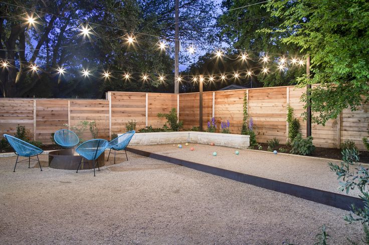 fire pit and bocce ball court