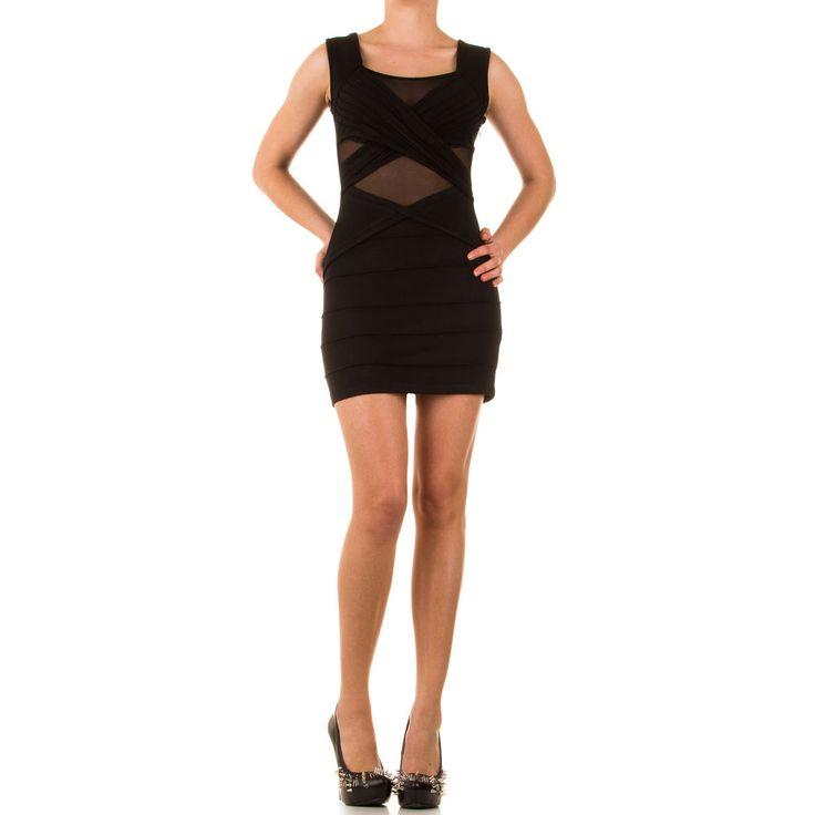Super fed og kropsnær kjole med net indsats foran. Lækker kvalitet.