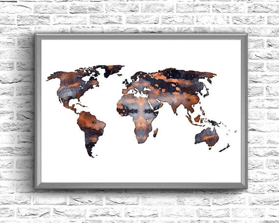 Watercolor World Map  World Map Instant Download  World Map