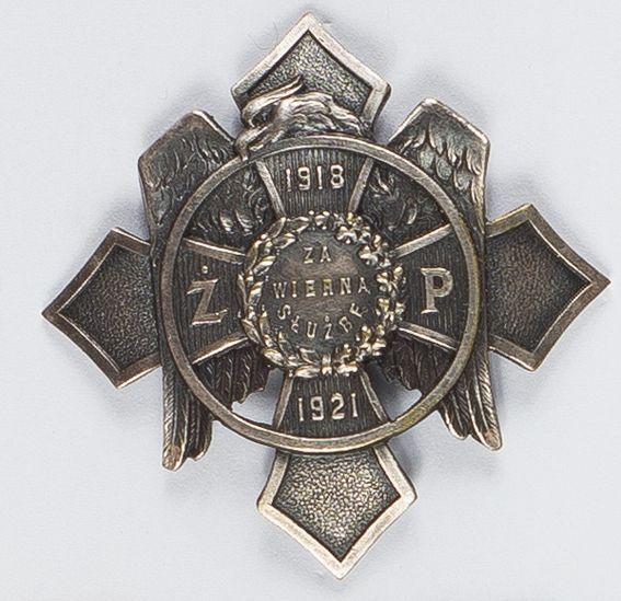 """Odznaka Żandarmeria Polowa """"Za Wierną Służbę 1913-1921"""""""