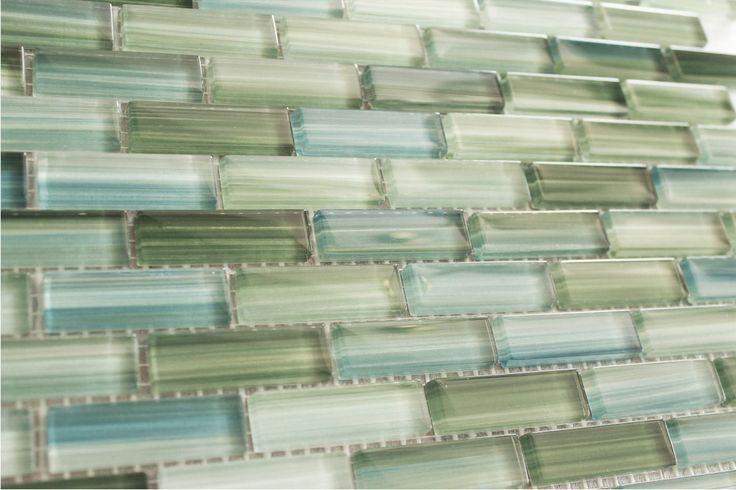 Green Blue White Subway Glass Mosaic Tile Kitchen