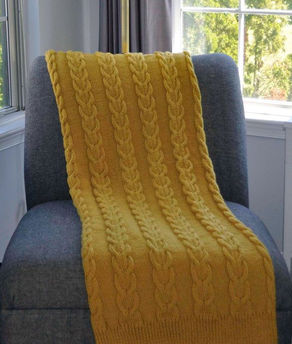 Mustard Yellow Blanket Chunky Blanket with Cable. Love blankets like that.