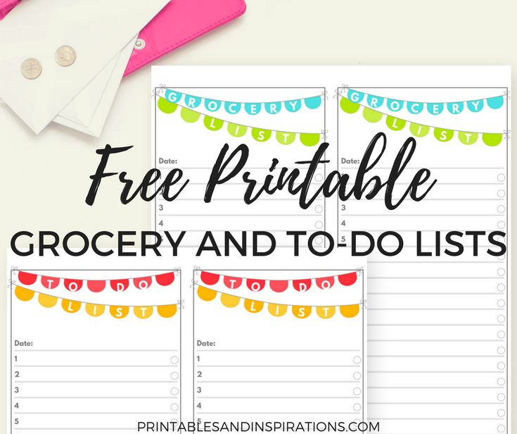 Here's some cute and simple printables I made to help organize your day. Get ready to download your free printable to do list and grocery list! I made 2 designs in party colors to remind us t…