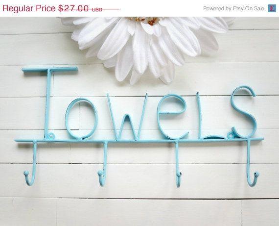 Christmas in July Sale / Aquamarine Pool Sign / Towel Holder / Pool Decor / Beach Decor / Towel Hooks / Bathroom Accessories / Pool Towel R on Etsy, $22.95