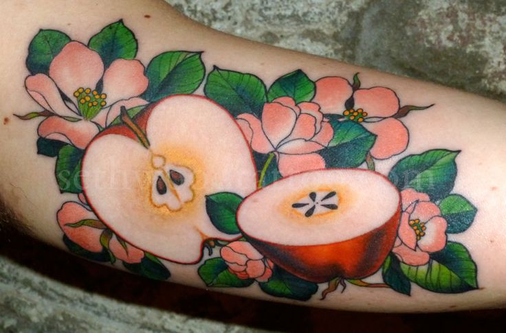 Apples and flowers tattoo by Seth Wood, Saved Tattoo, Brooklyn NY.