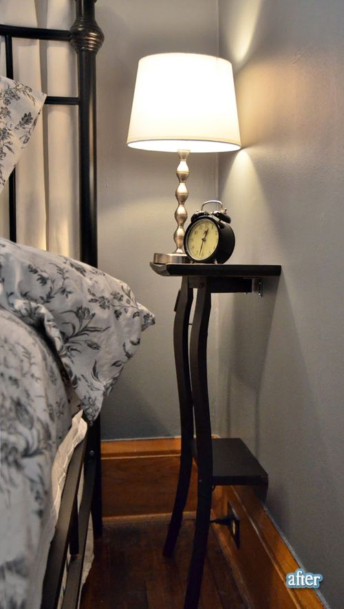 Small bedroom? Cut that nightstand in half! Why didn't I ever think of that! love the wall color and bedding