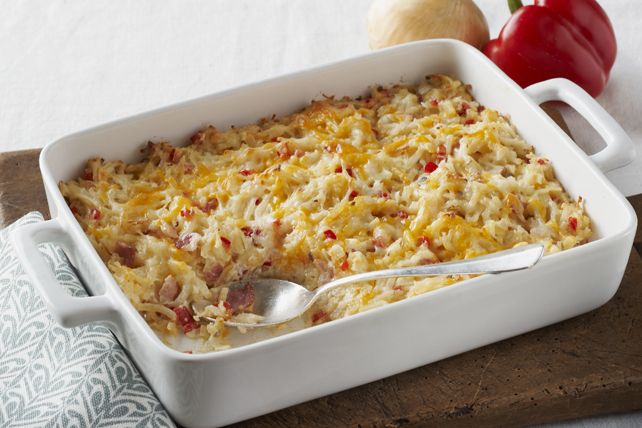 Delight the whole family with this Cheesy Hash Brown Casserole. This cheesy hash brown side dish complements virtually any meal any time of the day.