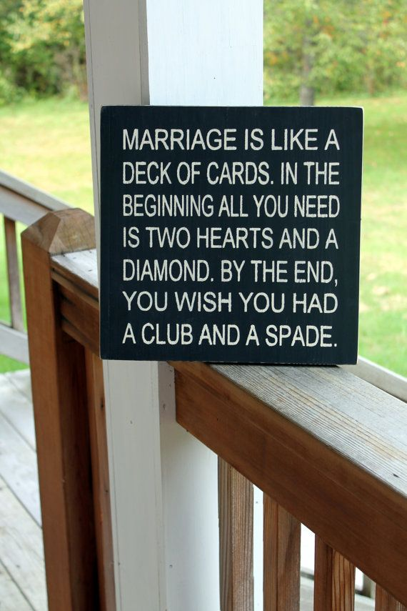 Funny Marriage Wood Sign, Funny Quote Sign, Marriage Like a Deck of Cards, Funny Wall Art, Rustic Wall Art on Etsy, $28.60