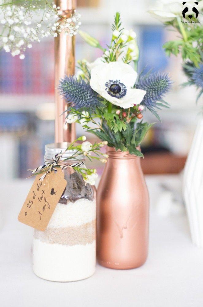 Inspiration déco: une déco de table de mariage cuivre et blanc