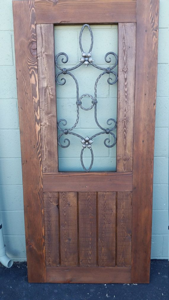 Rustic Reclaimed Wood Gate With Wrought Iron By