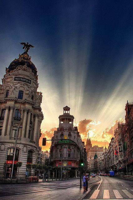 Gran Via and Alcalá by dusk - Madrid, Spain