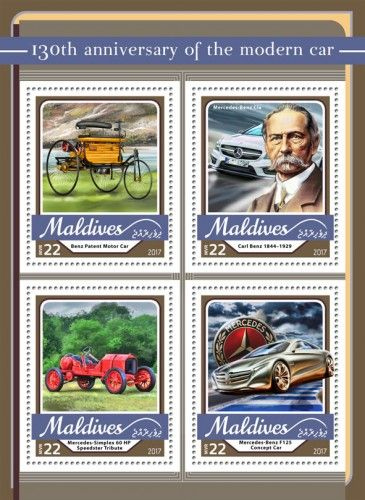 MLD17106a 130th anniversary of the modern car (Benz Patent Motor Car; Carl Benz (1844–1929), Mercedes-Benz Cia; Mercedes-Simplex 60 HP Speedster Tribute; Mercedes-Benz F125 Concept Car)