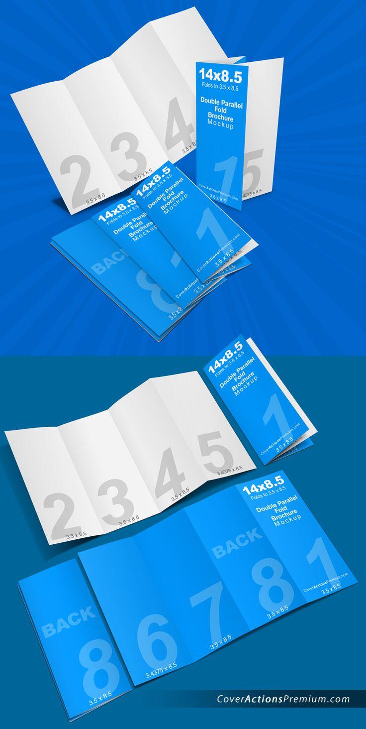 14 x 8.5 Double Parallel Fold Brochure Mockup Horizontal