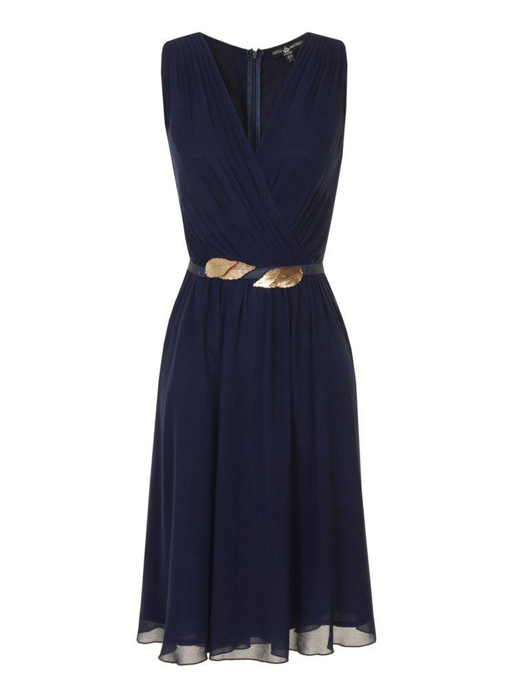 Little Mistress Navy Chiffon Gold Belted Dress
