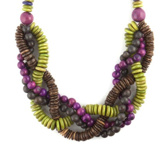 The eco-friendly Lila necklace is made from açai, coconut and tagua seeds all mixed together to create a great statement necklace! | lapucara.com
