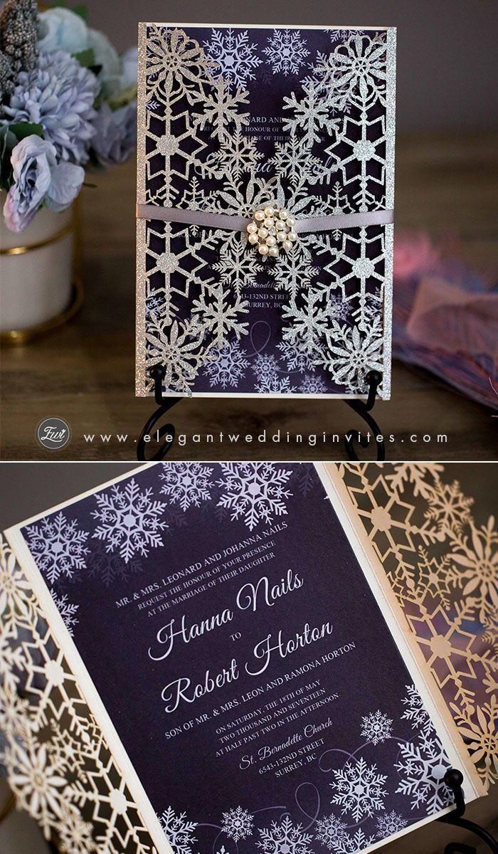 Winter Wedding. Pearl Snowflake and Lace Pocket Wedding Invitation