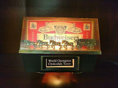 VINTAGE Budweiser World Champion CLYDESDALE HORSE TEAM BAR LIGHT SIGN Works!