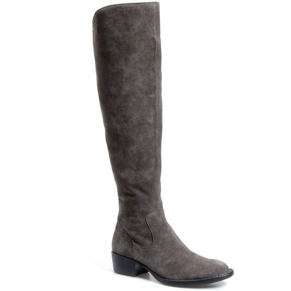 """Born 'Borda' Boot, 1 1/2"""" heel ($235) ❤ liked on Polyvore featuring shoes, boots, grey suede, knee-high boots, tall suede boots, tall boots, gray boots, high boots и born boots"""