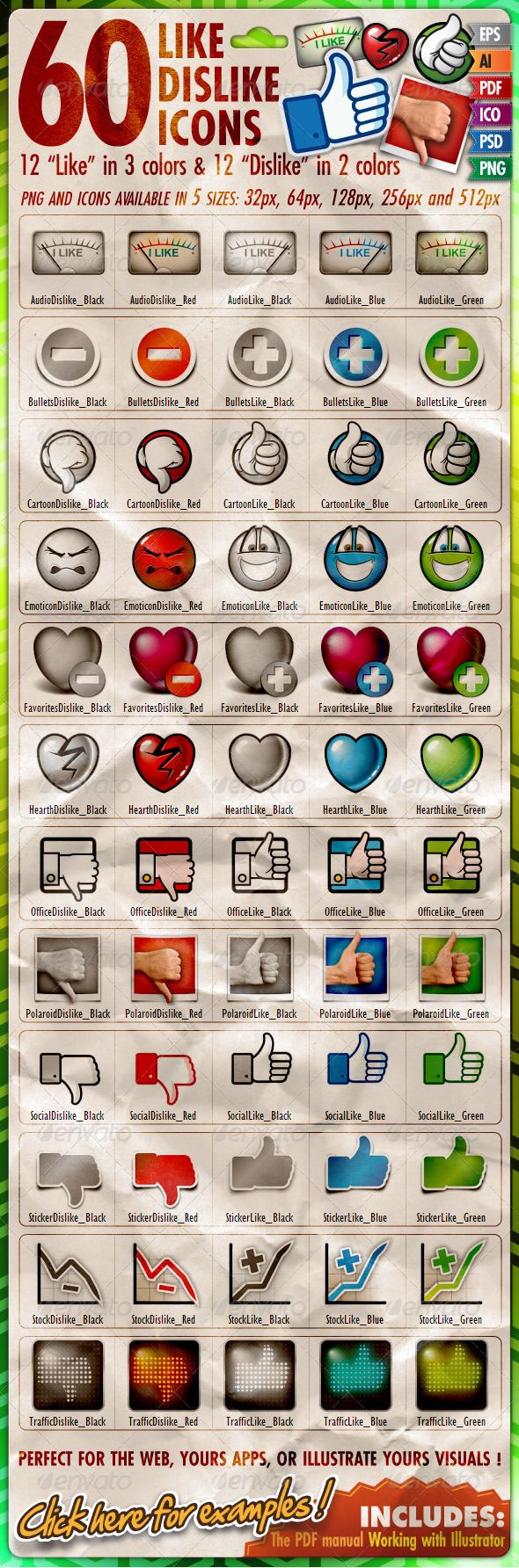 """60 Like/Dislike Icons  #GraphicRiver        PERFECT FOR AD, WEB, APPS, GAMES OR ILLUSATION !  """"60 Like Dislike Icons"""" is a great collection of 12 themes build on the same pattern: 2 Dislike icons available in red and black, and 3 Like icons in blue, green and black. Each icon are available in vectorial format: AI, EPS, and PDF, and bitmatdata from 32 to 512 pixels (PSD, PNG and ICO). The icons using a hand (Cartoon, Office, Polaroid, Social, Stiker and Traffic) are not simply mirror effect…"""