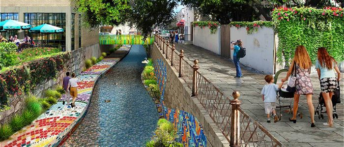 The Agua Antigua, or 'Ancient Water,' concept proposed for the Salon de Alameda section of San Pedro Creek. Image courtesy of the San Antonio River Authority.
