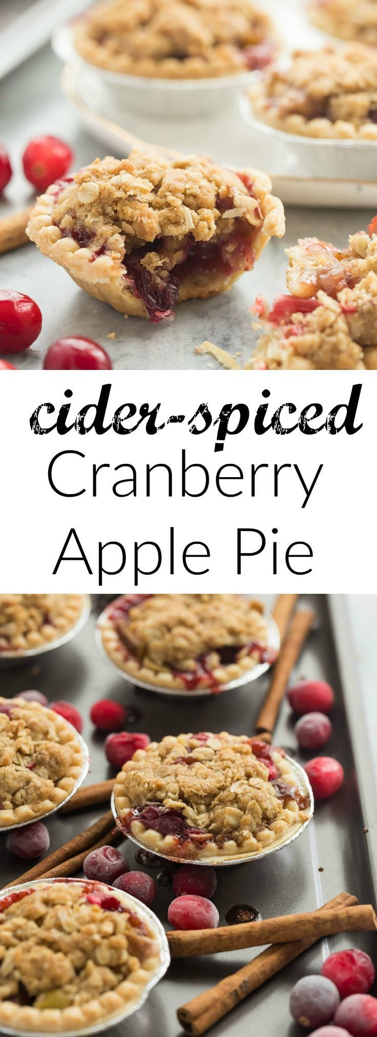 These Mini Cider Spiced Cranberry Apple Pies are so perfect for fall — I make them in pre-made tart shells for an easy holiday dessert that will impress your guests!