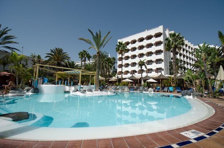 IFA Beach main pool with hotel facade, San Agustin, Gran Canaria #Canarias #travel @Lopesan Hotel Group Hotel Group