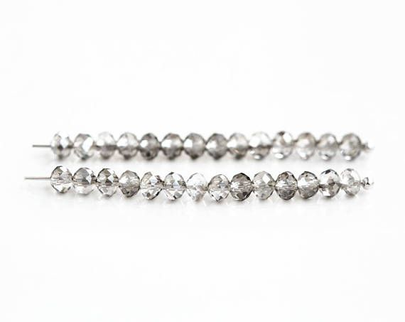 2653 Gray transparent beads 4x3 mm Crystal glass beads Small