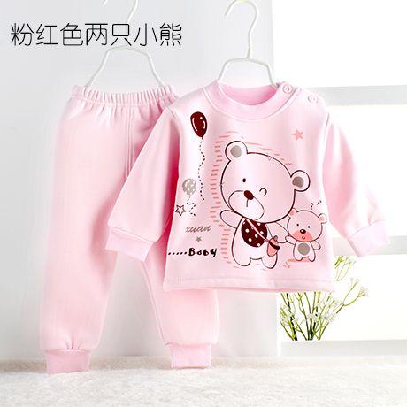 Детские пижамы из Китая :: Младенца хлопка набор Термобелье для мужчин и женщин в осенний и зимний плюс бархат набивочного плечо пряжки пижамы новорожденных одежда.