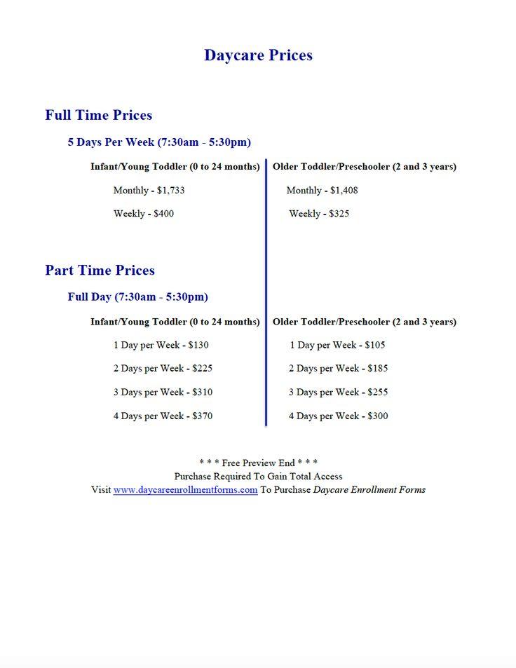 Daycare Prices http://www.daycareenrollmentforms.com/
