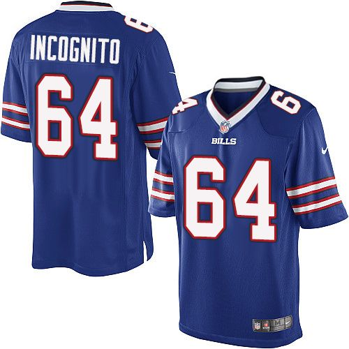 Nike Limited Richie Incognito Royal Blue Youth Jersey - Buffalo Bills #64 NFL Home