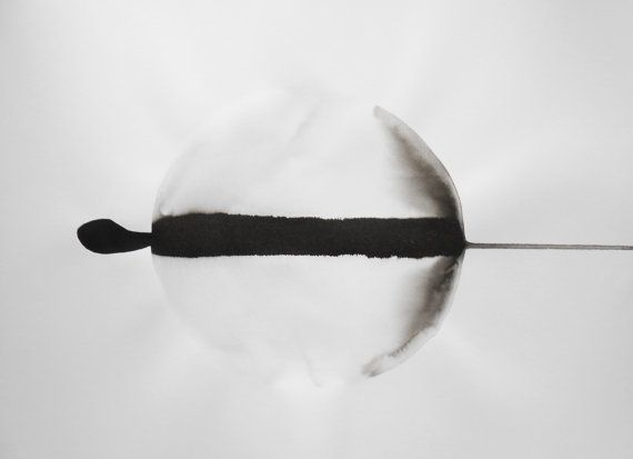 A3 Original Modern Zen Ink Wash Painting 11.7x16.5  by Manjuzaka
