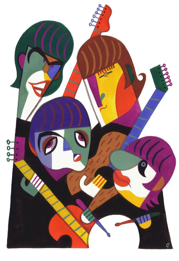 The Beatles, illustration by David Cowles. Available at the Friends of Bob Newman online benefit auction: http://www.biddingowl.com/Auction/index.cfm?start=1sort=ItemIDsortDir=DESCviewType=1auctionID=1484category=1catName=Antiques%20and%20Art