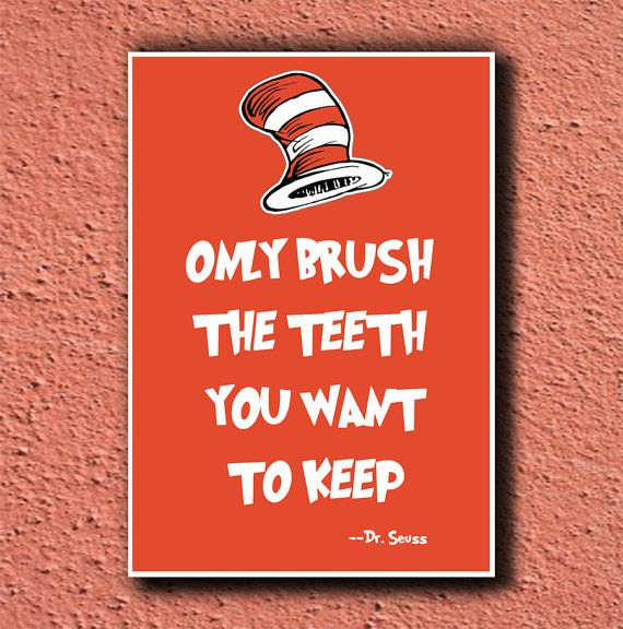 Dr Seuss Poster Art TEETH 11x17. $15.00, via Etsy.