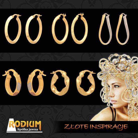 Złote kolczyki wykonane z rurki - szarnierki - bardzo modne. Posiadamy różne wzory tych złotych kolczyków.