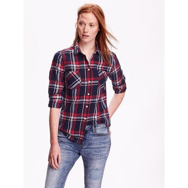 Old navy womens classic plaid flannel shirt 22 liked on for Womens navy plaid shirt