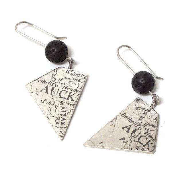 Etched sterling silver Auckland Vertex Drop Earrings by Fiona Mitcham