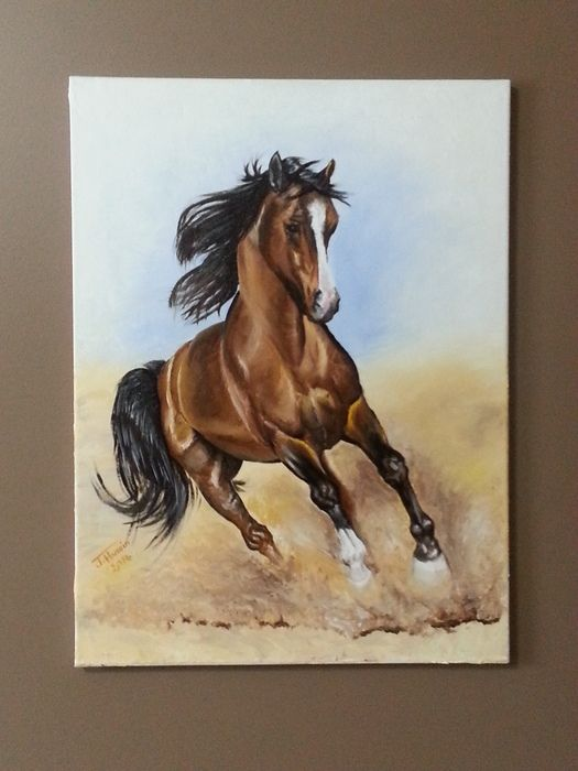 Auction item ''A Brown Arabian Horse Provoking Desert's Sands' - Painting' hosted online at 32auctions.