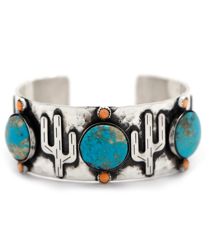 Richard Schmidt Cactus and Turquoise Cuff at Maverick Western Wear