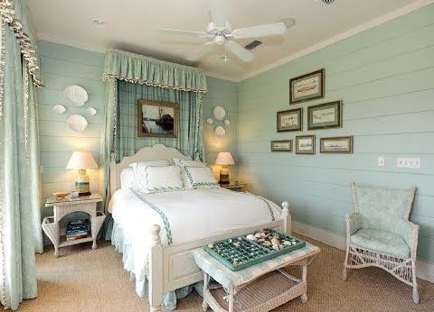 Too many curtains, but otherwise charming and calm coastal bedroom in a neutral blue: http://www.completely-coastal.com/2013/07/coastal-decorating-with-aqua-blue.html