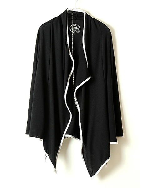Loose Black Cardigan with Contrast Trim and Draped Open Front #Chicnova Fashion
