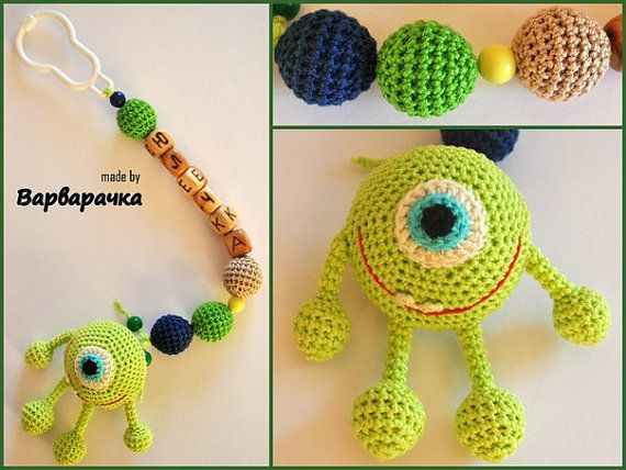 soother clip with amigurumi MaikVazovski by ForYourHappyBaby