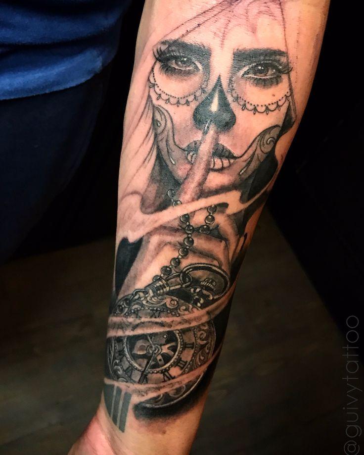 Tattoo by Guivy / Art For Sinners / Tattoo / Geneva / Switzerland Work in progress... #catrina #santa #muerte #tattoo #tatouage #portrait #mexican #mexicaine #chola #girl #femme #blackandgrey #realism #clock #horloge #shhh #montre #tatoueur #geneve #suisse