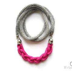 Collana lunga con treccia in cotone rosa- milleintrecci  - rosa rosè