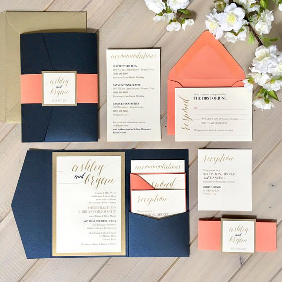 Navy Coral And Gold Wedding Invitations Navy And Coral